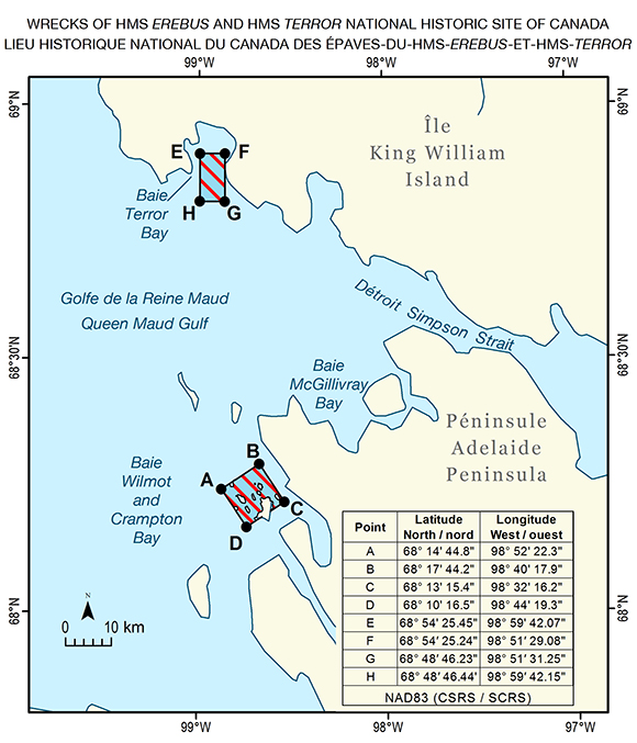 Map of the Wrecks Of HMS Erebus and HMS Terror National Historic Site