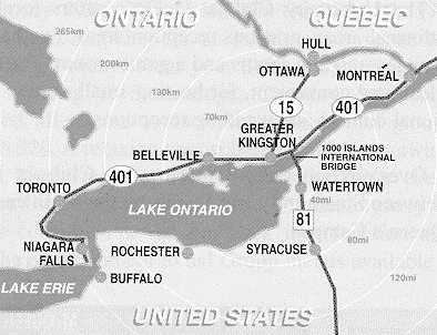Map of Eastern Ontario and northern New York.