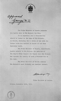 Declaration of War against German Third Reich, September 10 1939. Please click on the Declaration of War to read its details.