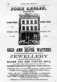 An advertisement for Mr. Leslie's jewelshop