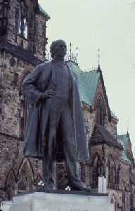 Statue of Sir Wilfrid Laurier on Parliament Hill, located right of East Block