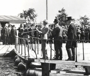 Prince of Wales inspecting the Sault Canal in 1919