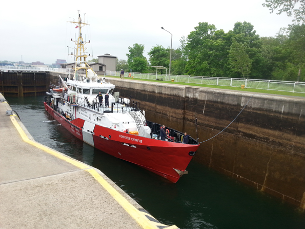 CCGS Constable Carrière locking through the Sault Ste. Marie Canal National Historic Site