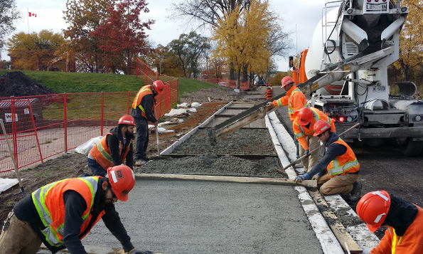 Some of the sidewalks were poured prior to winter's arrival