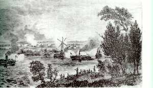 The Battle of the Windmill, 13 November 1838-view from the American side of the river