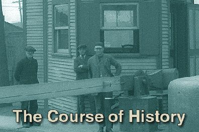 The words the course of history superimposed on a period image showing workers in front of the cabin