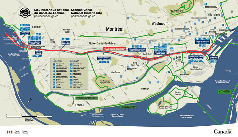 Map of the Path of the Lachine Canal National Historic Site