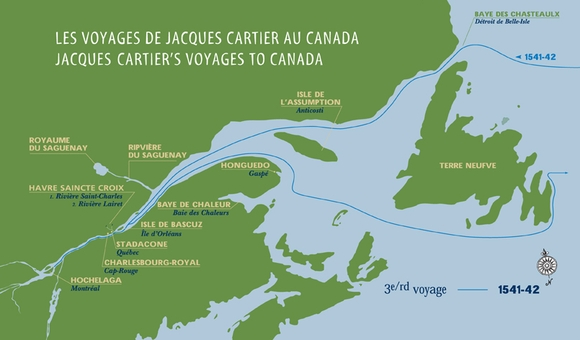 Map of Cartier's third voyage 1541-1542