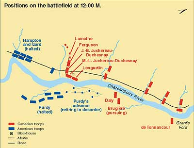 Positions on the battlefield at 12:00 p.m.