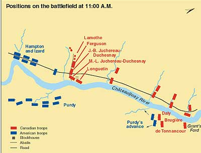 Positions on the battlefield at 11:00 a.m.