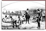 Champlain is on the shore. Europeens and Amerindians are ready to leave in their canoe
