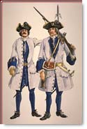 Drawing of a soldier and a sergeant wearing uniforms and weapons of the 'Compagnie franche de la Marine'