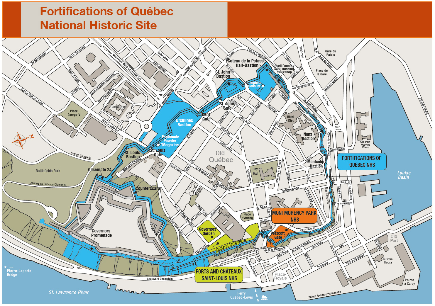 Fortifications of Québec National Historic Site of Canada ... on boston walking maps, paris walking maps, las vegas walking maps, san francisco walking maps, amsterdam walking maps, seattle walking maps, london walking maps, montreal walking maps, washington dc walking maps, italy walking maps, shanghai walking maps, ohio walking maps, vancouver walking maps,