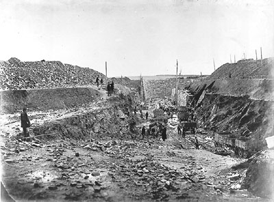 Fort No. 1 under construction? No, Fort Staddon in the south of England in January 1863.