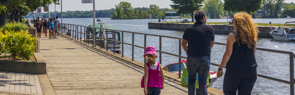 Stroll the boardwalk along the waterway