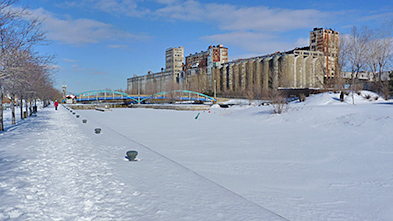 The Silo No. 5 near the locks of Lachine Canal during winter