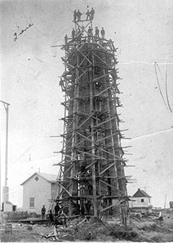 The third lighthouse under construction in 1909