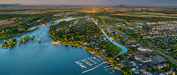 Aerial view of the Chambly Canal and the marina of Chambly