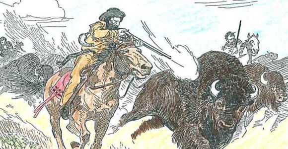 Historic illustration of men hunting buffalo