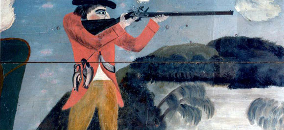 Painting of soldier goose hunting
