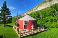 A yurt provides spacious and comfortable accommodations