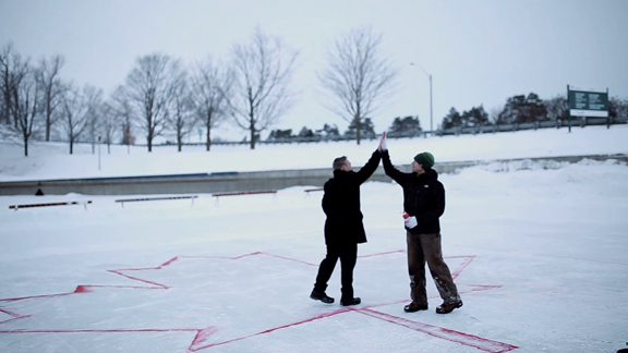 When Parks Canada employees at the Trent-Severn Waterway wanted to celebrate the 50th anniversary of the Canadian flag, they invited the community of Peterborough to join them in a truly Canadian undertaking. Here's what community spirit, patriotism, and a little bit of winter built at the Peterborough Lift Lock National Historic Site.