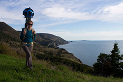 One of Google's Street View operators at Cape Breton Highlands National Park