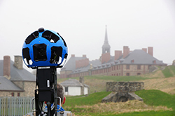 One of Google's Street View operators at the Fortress of Louisbourg