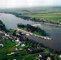 Aerial view of the Richelieu River and the Saint-Ours Canal National Historic Site of Canada.