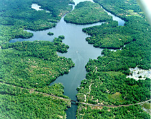 Aerial photo of Trent-Severn Waterway National Historic Site of Canada