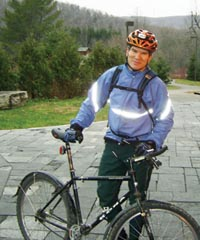 Parks Canada employee Ed Jager poses on his daily bike ride to work at the National Office in Quebec