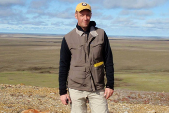 Portrait of scientist Paul Zorn on the tundra