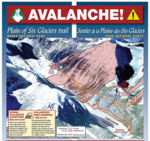 Map of avalanche zones on the
