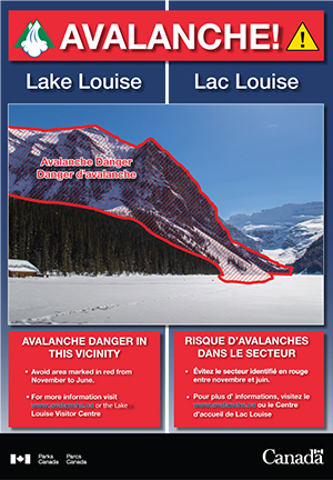 Avalanche zones on Mt. Fairview at Lake Louise