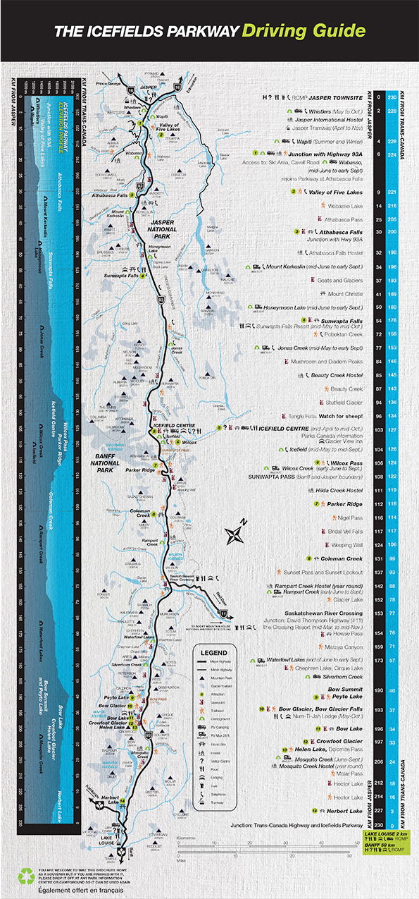 Icefields Parkway Map Icefields Parkway   Banff National Park