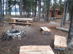 Picnic tables and shelter at the campground