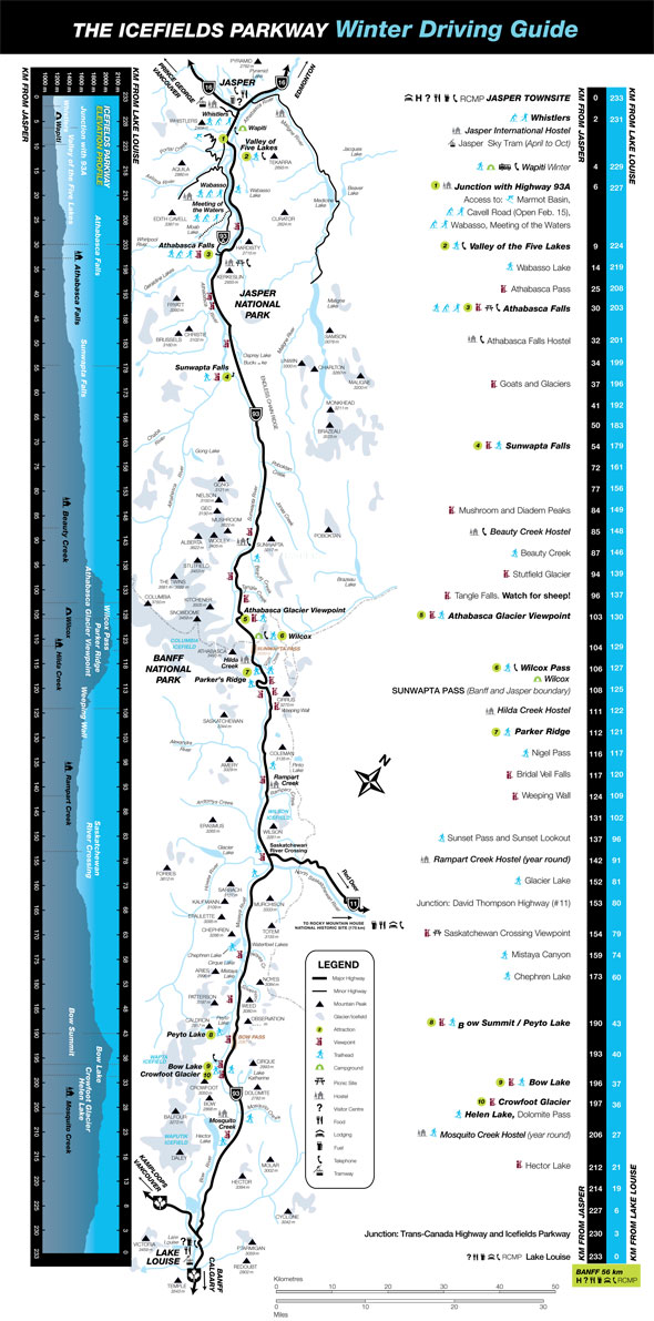 Icefields Parkway Map Winter Icefields Parkway Map   Jasper National Park