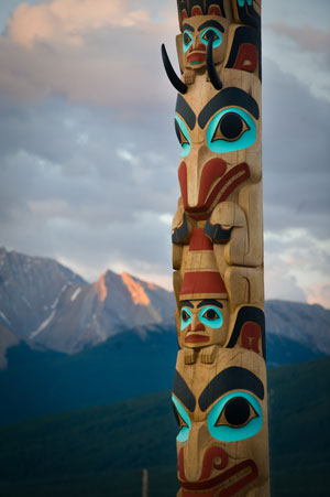 Two Brothers Totem Pole in Jasper National Park