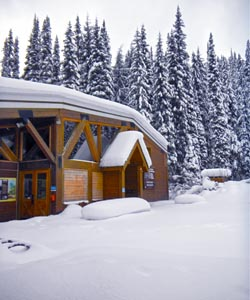 Rogers Pass Discovery Centre in winter