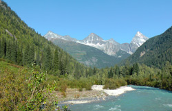 View of the Illecillewaet River and the Mountains of Rogers Pass near the Mount Sir Donald picnic site