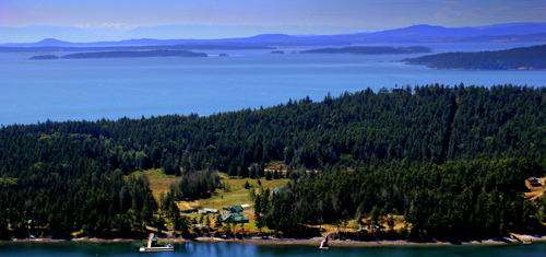 A bird's-eye view of South Pender Island and Mt. Norman