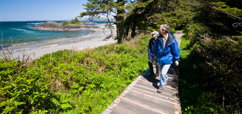 A couple hiking along the shoreline on a boardwalk