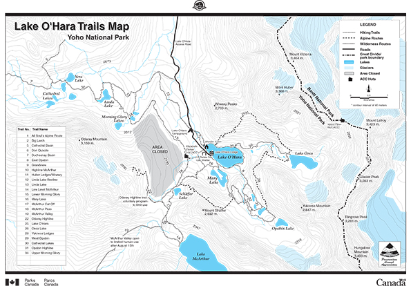 Lake O'Hara Trails Map