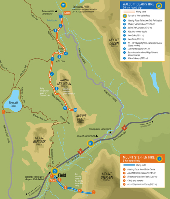 Map of guided hike to the Walcott Quarry in Yoho National Park