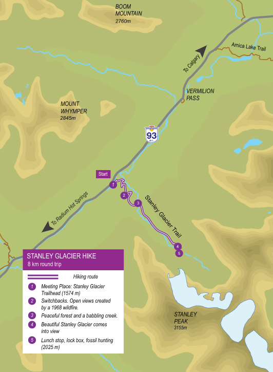 Map of guided hike to Stanley Glacier in Kootenay National Park
