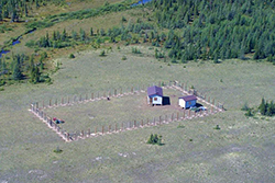 Parks Canada's fenced Owl River camp in Wapusk National Park