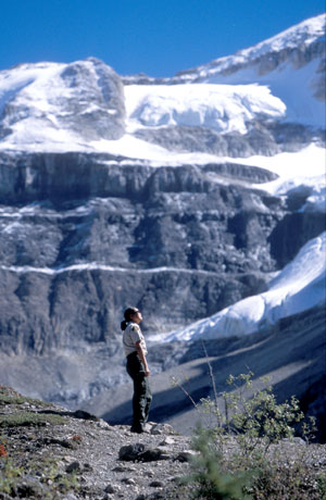 Employee on Stanley glacier trail