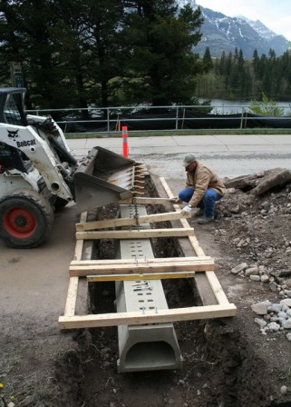 Constructing a salamander underpass in Waterton National Park