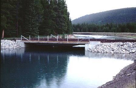Two Jack Canal wildlife bridge in Banff National Park