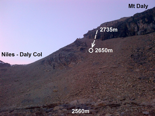 Accident location on the SW slopes of Mt Daly from the helicopter staging area, 2015-08-23